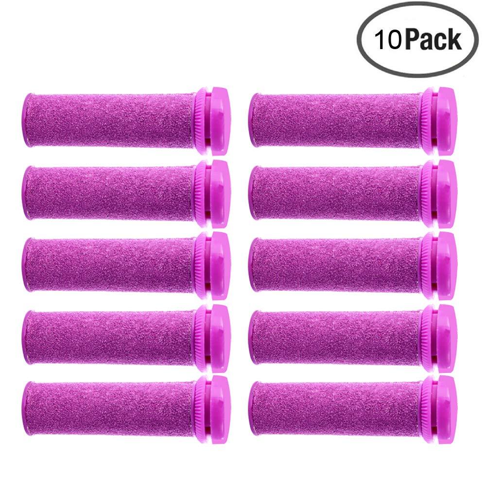 Foot Solutions Super Coarse Emjoi Micro Mineral Replacement Rollers Compatible with Emjoi Micro-Pedi Callus Remover (10 Pack-Purple)
