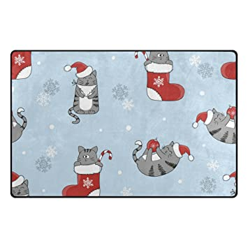 ColourLife - Alfombrillas de gatito con calcetines de Navidad, ligeras, para decoración de habitaciones