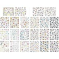 2 Foto's Bloem Nagelstickers, 3D Nagelkunst Zelfklevende Stickers, Bloem Bladeren Veer Nagelsticker Tattoo Zomer…