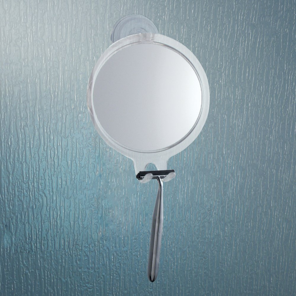 Amazon InterDesign Power Lock Suction Shaving Mirror For Shower Or Bathroom Circular With Razor Holder Clear Home Kitchen