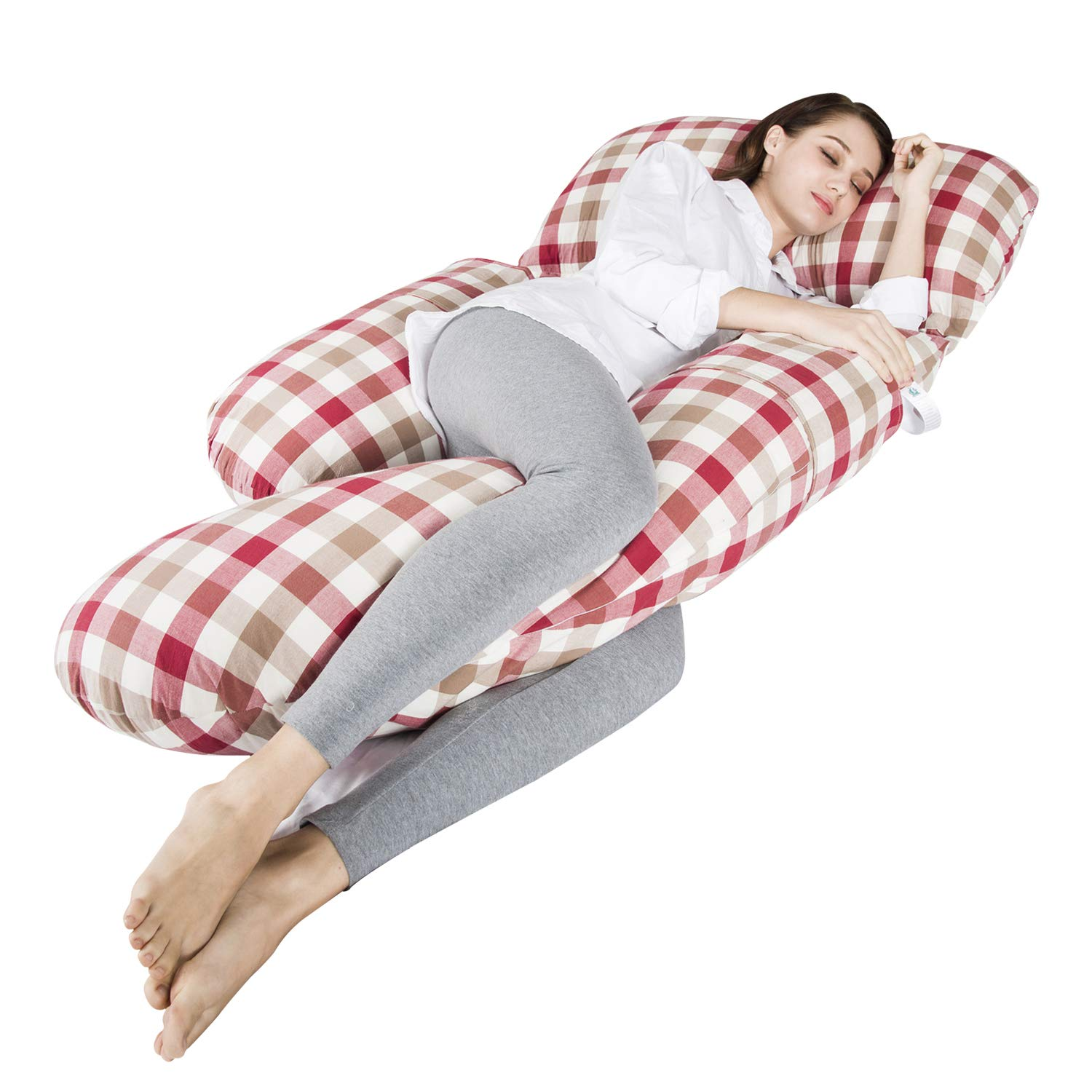 Sanxian Full Body Multifunctional Maternity Pillow with Washable Cotton Pillowcase Cover - G Shaped Pillow/ 100% EPE Cotton Filling