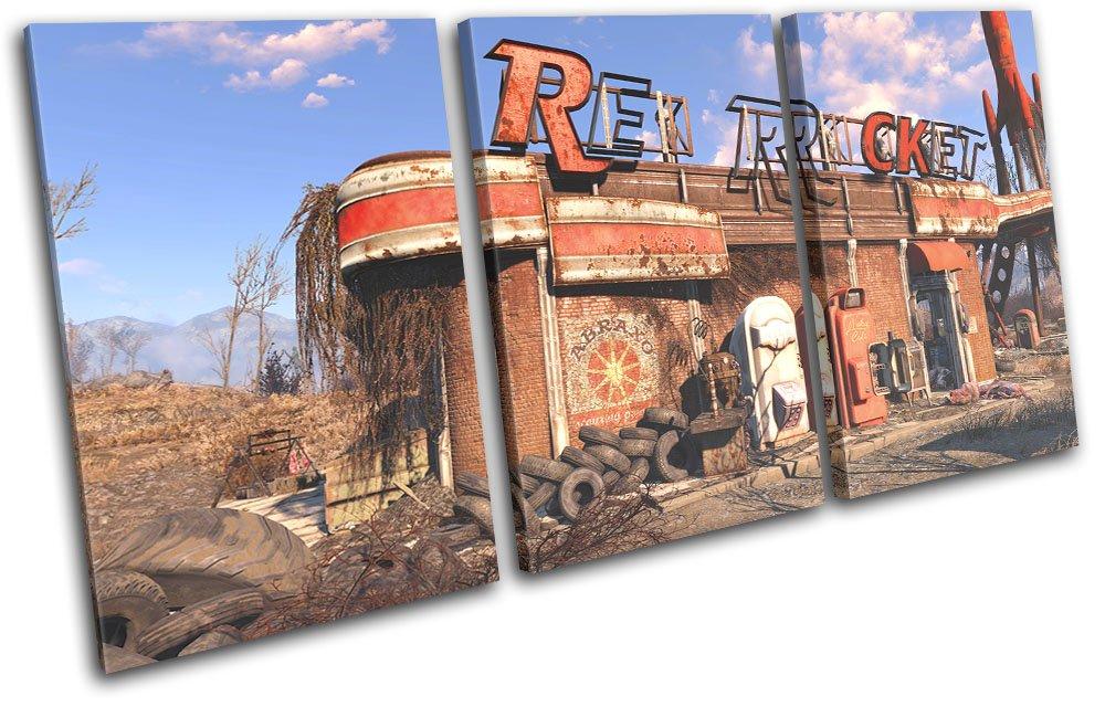Bold Bloc Design - Fallout 4 ROT 90x45cm Rocket Gaming 90x45cm ROT TREBLE Leinwand Kunstdruck Box gerahmte Bild Wand hangen - handgefertigt In Grossbritannien - gerahmt und bereit zum Aufhangen - Canvas Art Print 74c58b