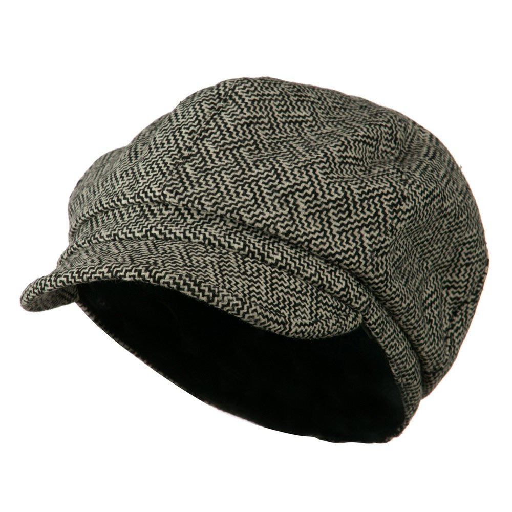 Black White W16S51B Zig Zag Tweed Newsboy Cap
