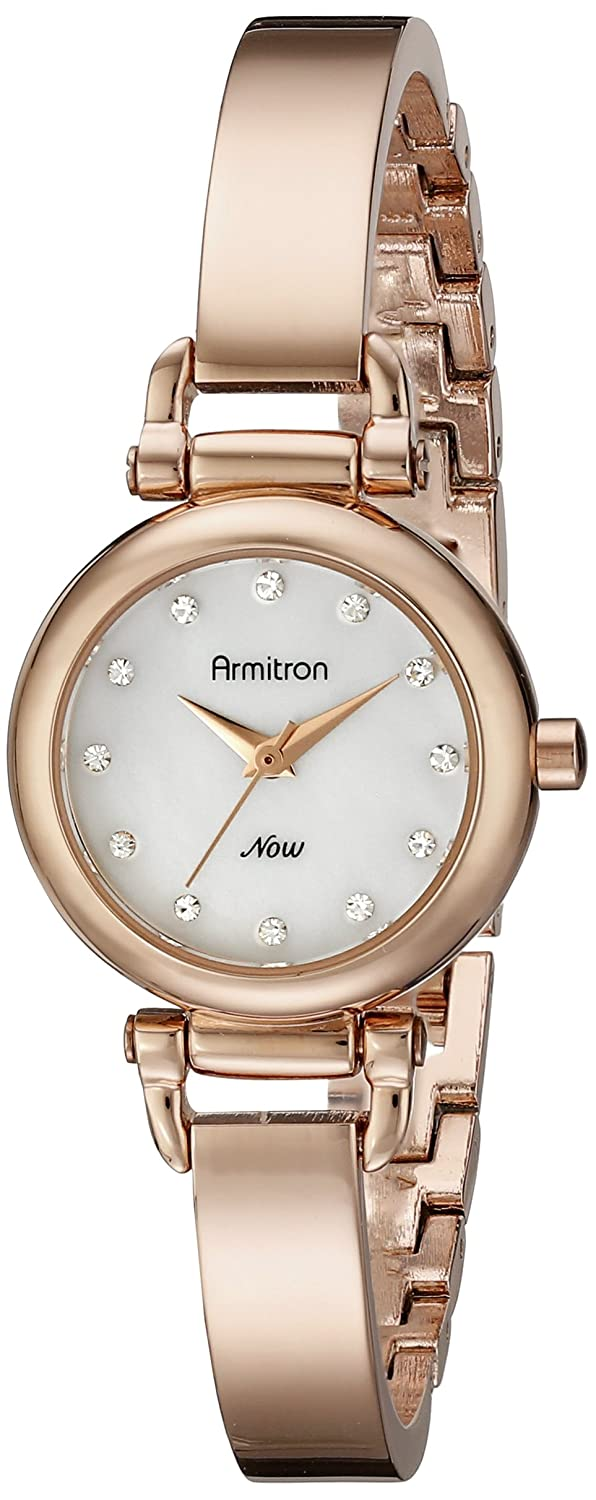 Amazon.com: Armitron Womens 75/5269MPRG Swarovski Crystal-Accented Rose Gold-Tone Bangle Watch: Watches