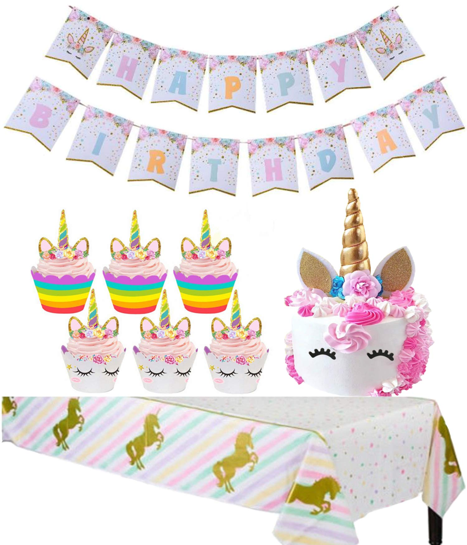 Unicorn Party Supplies Cupcake Toppers Wrappers Kids Party Cake Decorations 24 Packs/Handmade Gold Unicorn Horn Cake Topper with Eyelashes/Happy Birthday Rainbow Bunting Banner/Sparkle Tablecloth