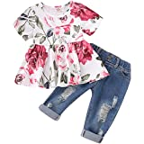CARETOO Girls Clothes Outfits, Cute Baby Girl Floral Long Sleeve Pant Set Flower Ruffle Top