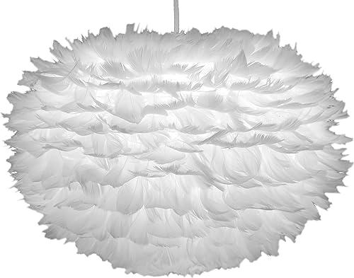 Vita Lighting Feather Shade 02010 EOS Modern Pendant Light, White Finish, and 04009 Swag Kit