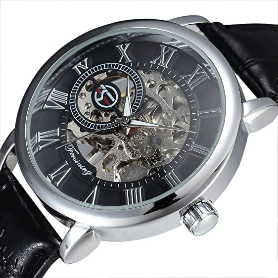 Amazon.com: Forsining 3d Logo Design Hollow Engraving Black Gold Case Leather Skeleton Mechanical Watches Men: Watches