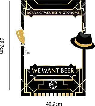 Sayala Marco de cabina de fotos de 1920,El gran tema de Gatsby Photo Booth Frame para adultos Decoraci/ón de la fiesta de bodas