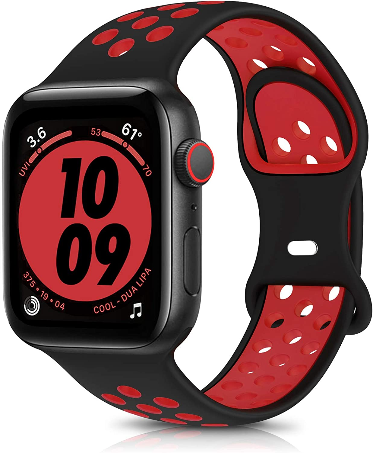 OYODSS Sport Bands Compatible with Apple Watch Band 38mm 40mm 42mm 44mm, Breathable Soft Silicone Replacement Wristband Strap Compatible with iWatch Series 6 5 4 3 2 1 SE Women Men Black&Red