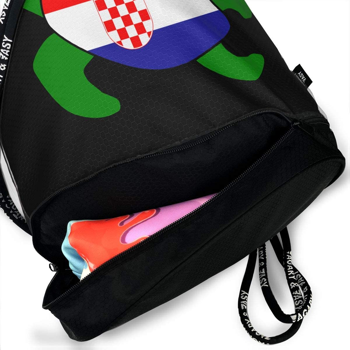Sea Turtle Croatia Flag Men And Women Drawstring Backpack Bag Beam Mouth Sport Bag Rucksack Shoulder Bags