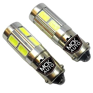 MCK Auto - Kit de bombillas LED CREE H6W, luz blanca muy brillante, fáciles de reemplazar, para luces de posición: Amazon.es: Coche y moto