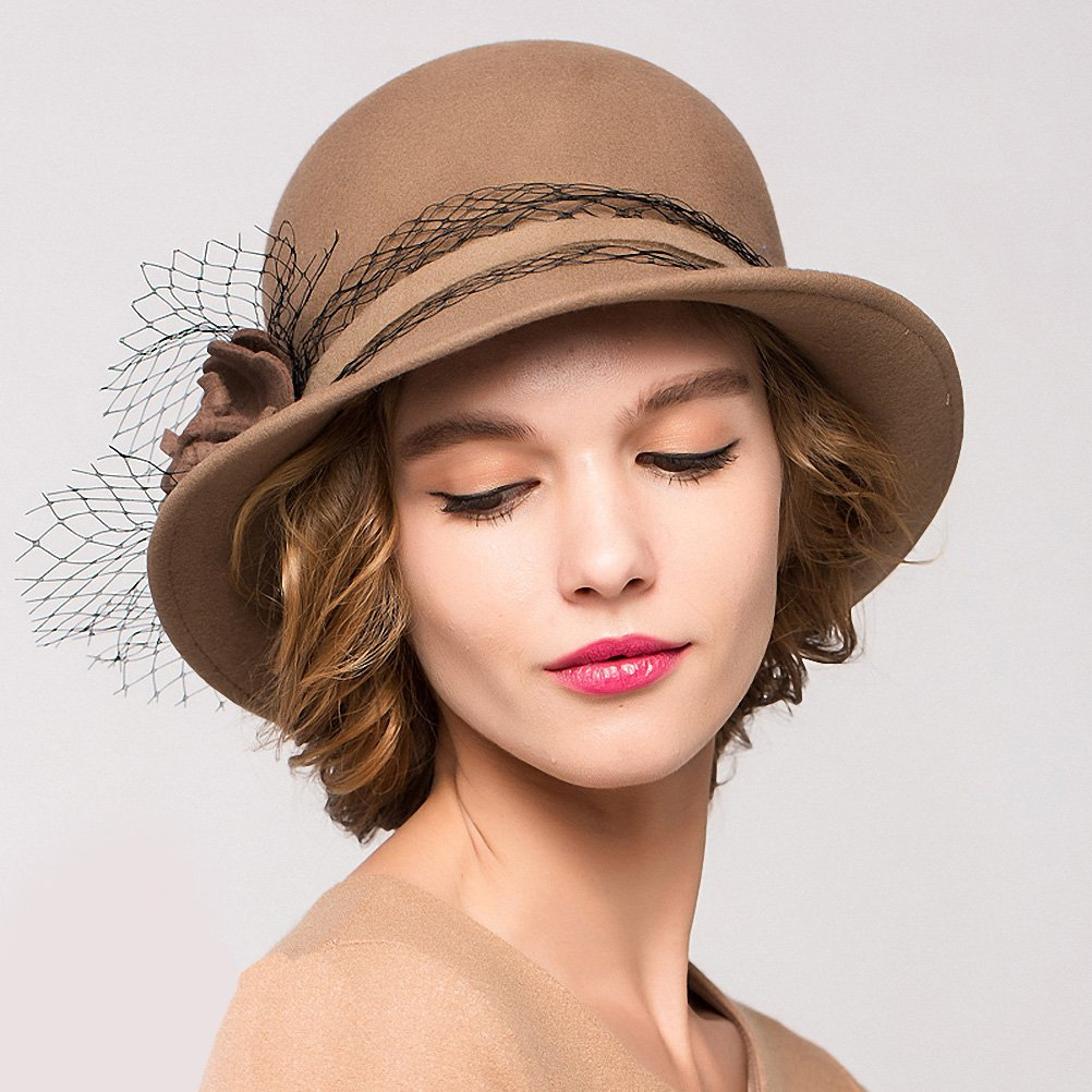 Maitose&Trade; Women's Wool Felt Bowler Hat Camel by Maitose (Image #4)