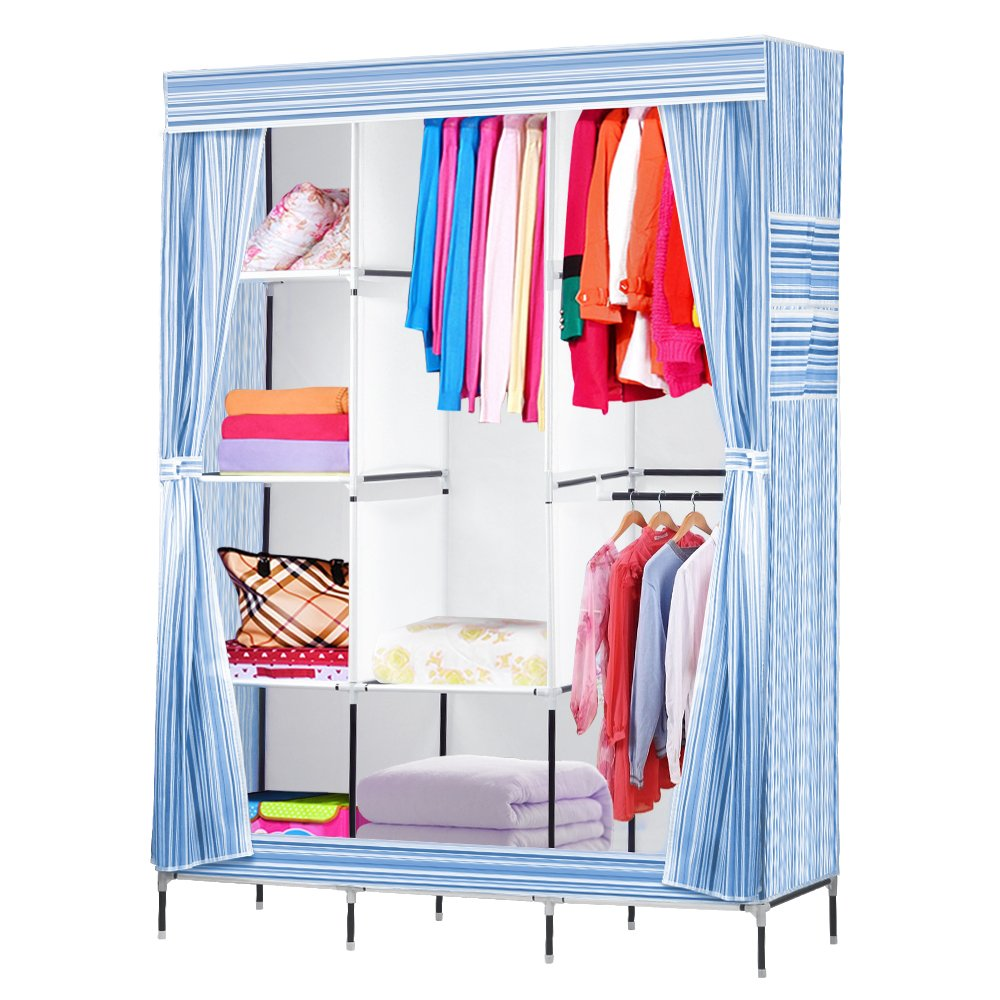 NEX Wardrobe DIY Clothes Storge Cabinet Portable Tool Organizer Bedroom Closet Doll Collection