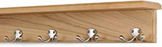 """product image for PegandRail Solid Cherry Shelf Coat Rack with Satin Nickel Double Style Hooks (Natural, 21"""" with 4 Hooks)"""