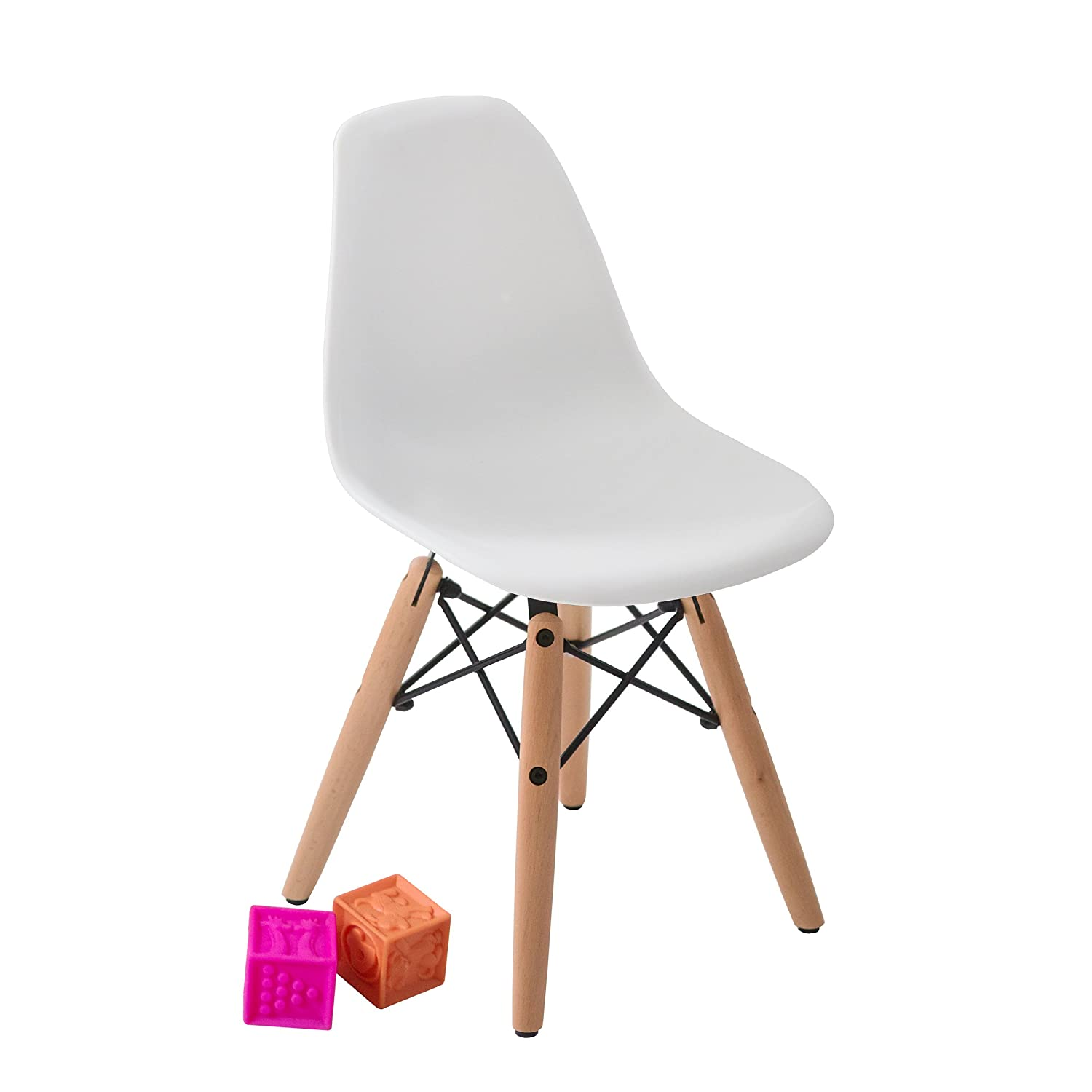 Wooden Legs Molded Plastic Chairs /& 1 Round MDF Table Steel Dowel Base With 2 Armless White Color Kids Table /& Chair Set for Children Curved Seats Modern Style Buschman Kids Furniture