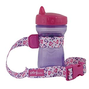 PBnJ Baby SippyPal Sippy Cup Strap Holder Leash Tether (1 Hearts)
