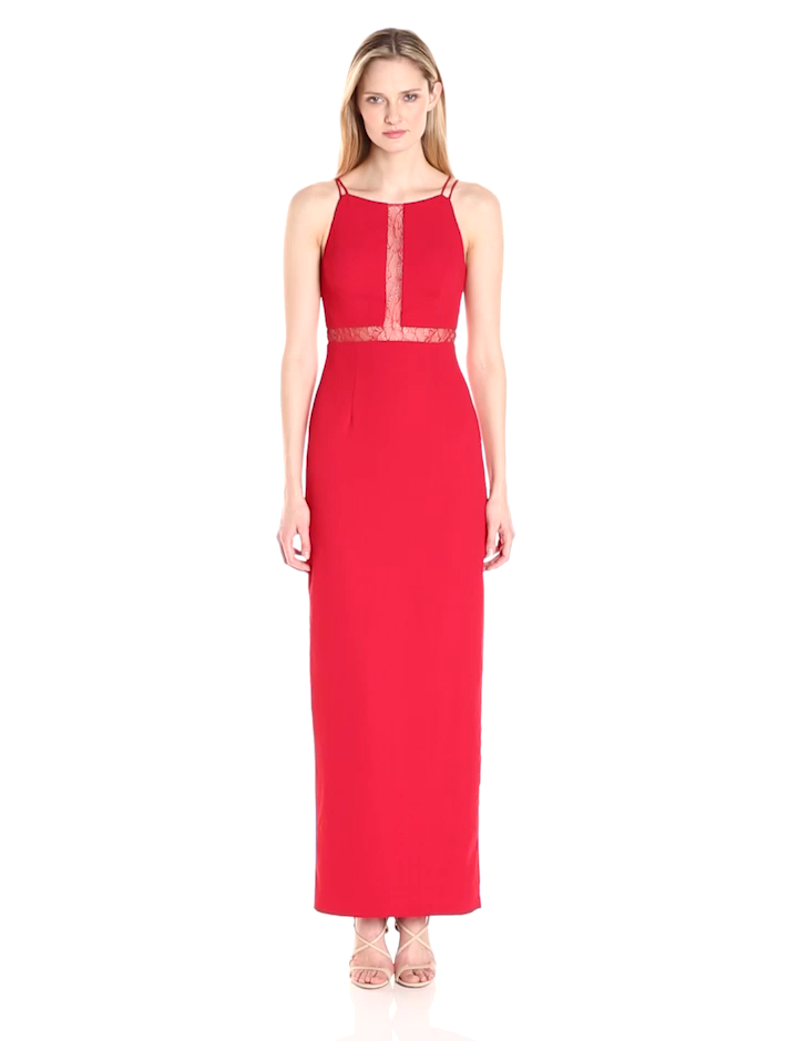 Aidan by Aidan Mattox Women\'s Long Crepe Gown with Lace Illusion ...