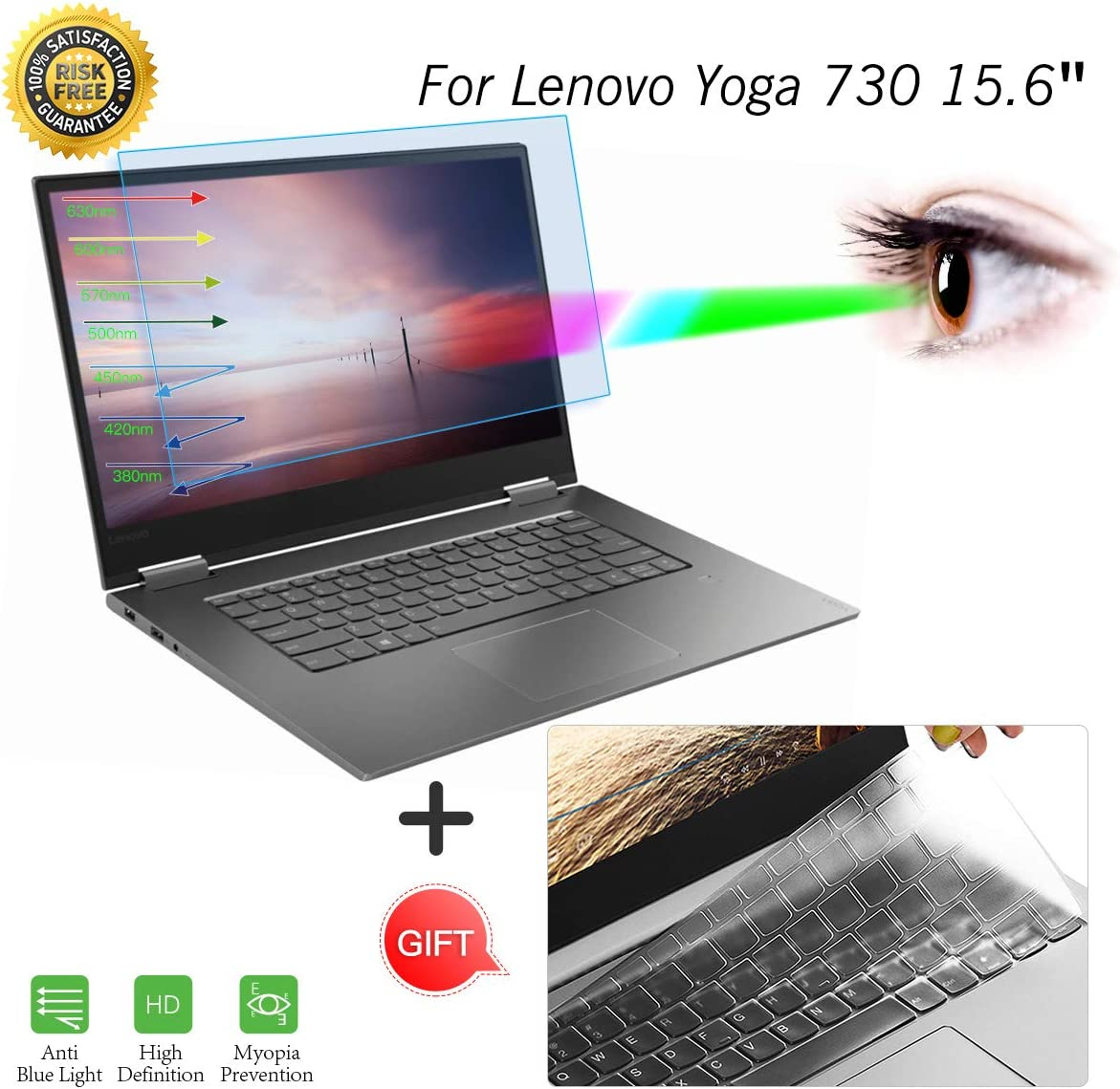Anti Blue Light Screen Protector Filter For Lenovo Yoga C630 15.6 Inch Anti Gla