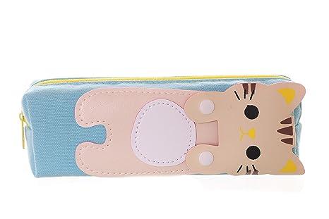 LB de 116 – 1 Azul Tiger gato Canvas estuche funda estuche para dama Japón Harajuku