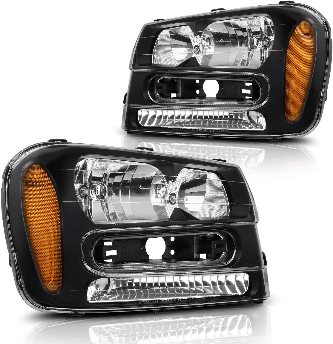 AUTOSAVER88 Headlights Assembly Compatible with 2002-2009 Trailblazer W/Full Width Grille Headlamp Replacement Amber Reflector(Except Compatible with 2006-2009 LT models, Pair)