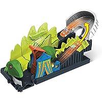 Hot Wheels City Ataque del dinosaurio, pista de coches de juguete, incluye 1 vehículo (Mattel GTT68)