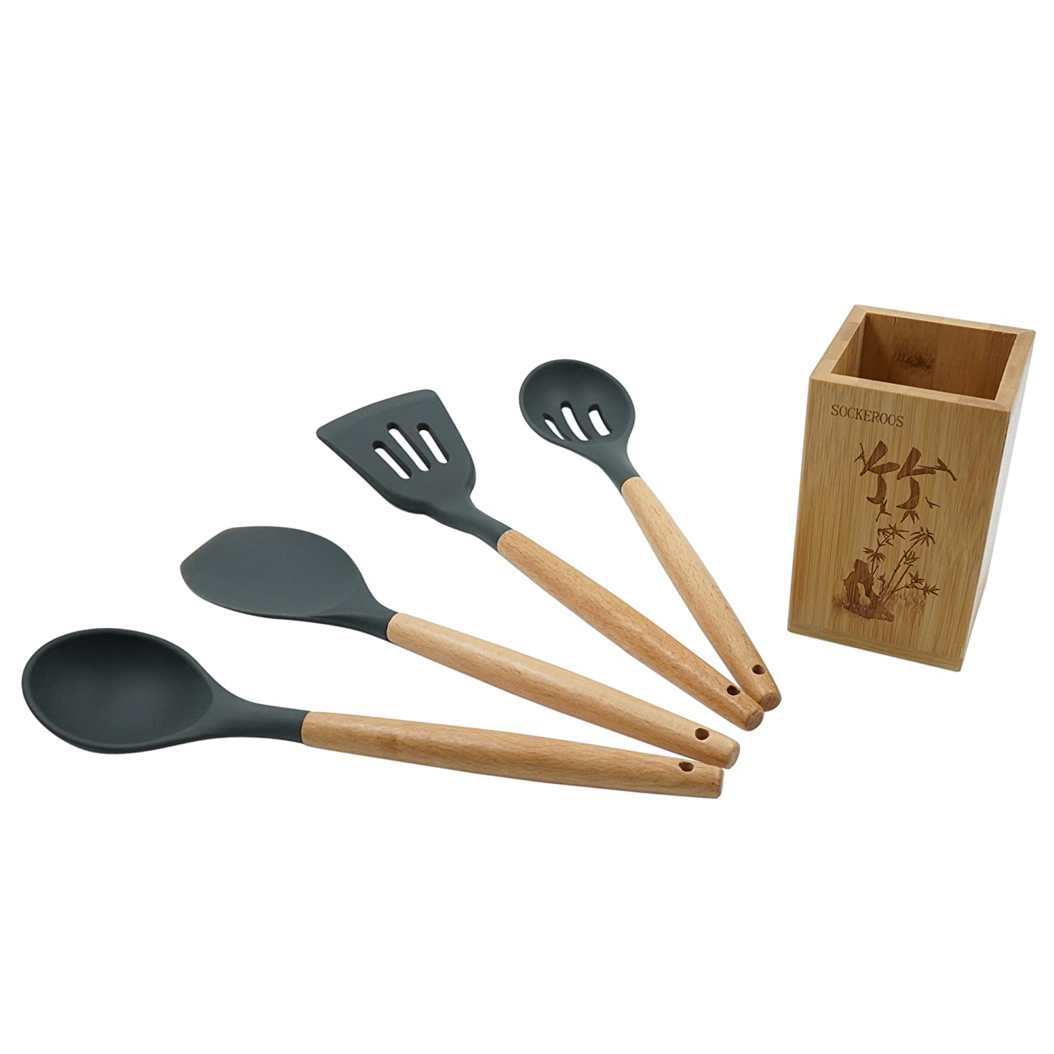 Silicone Kitchen Utensil 5 Pcs Cooking Tools Set with Beech Wood Handle, Bamboo Utensils Holder Included Sockeroos