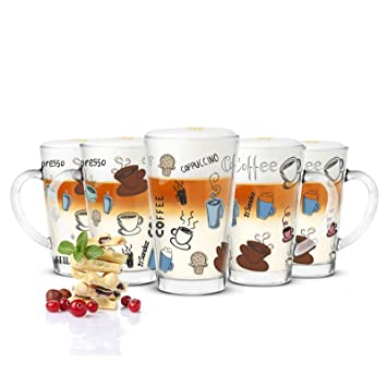 6 Latte Macchiato Gläser Kaffeegläser Teeglas mit buntem Kaffee-Aufdruck