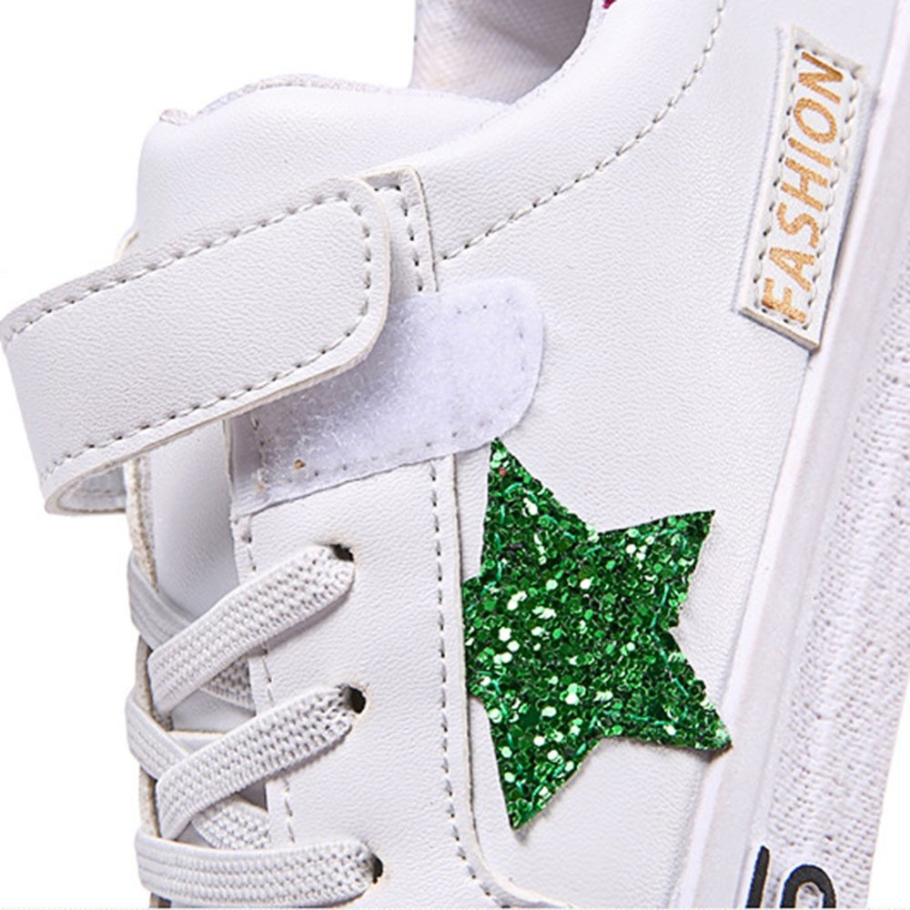 Lurryly Children Kids Boys Girls Star Plate Patch Leather Running Casual Shoes 4-10 T