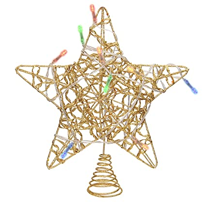 limbridge christmas lighted star tree topper 10 inch gold ribbon treetop with colorful 10