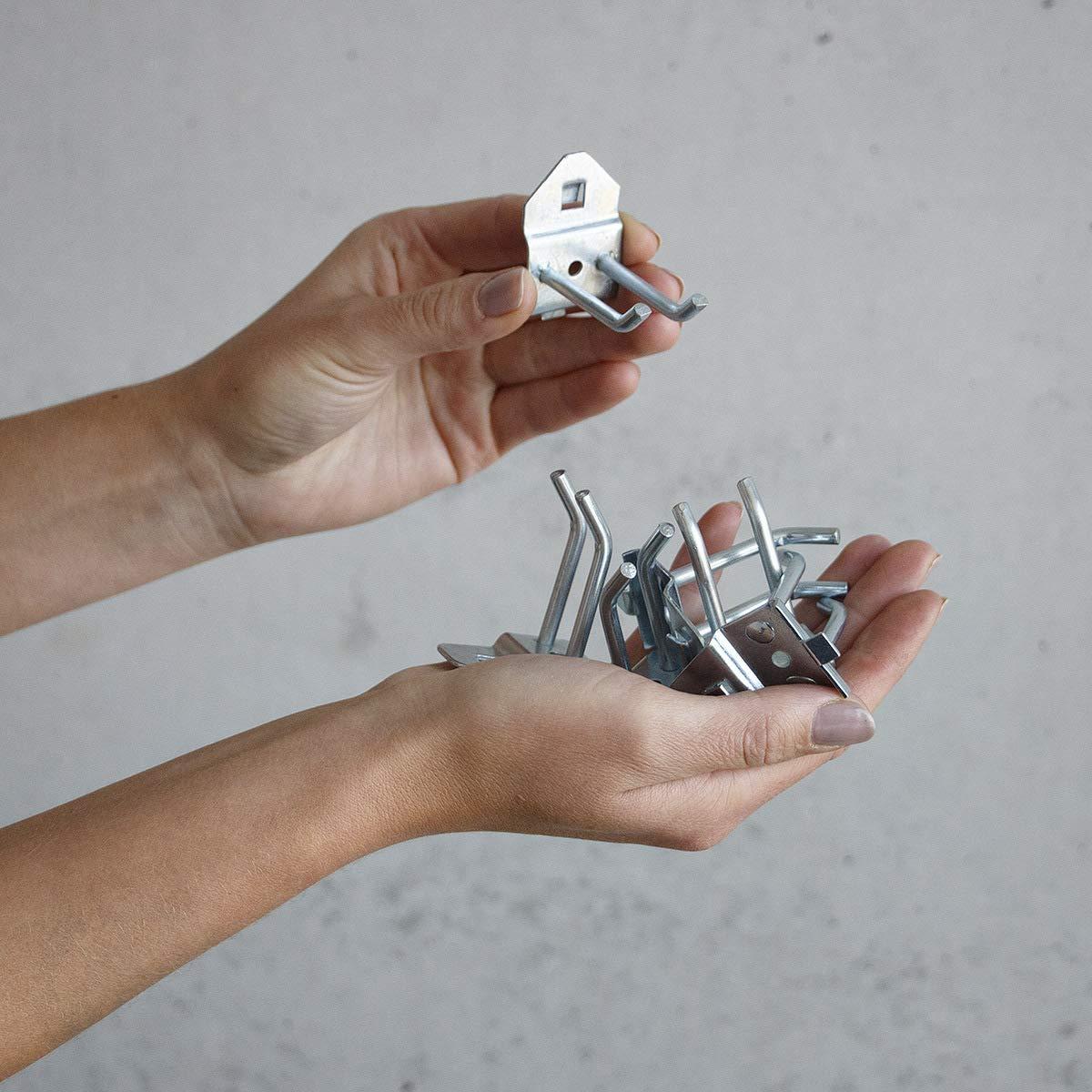 6 St/ück Doppel Werkzeughaken aus Metall 4,5 cm f/ür Werkzeugwand