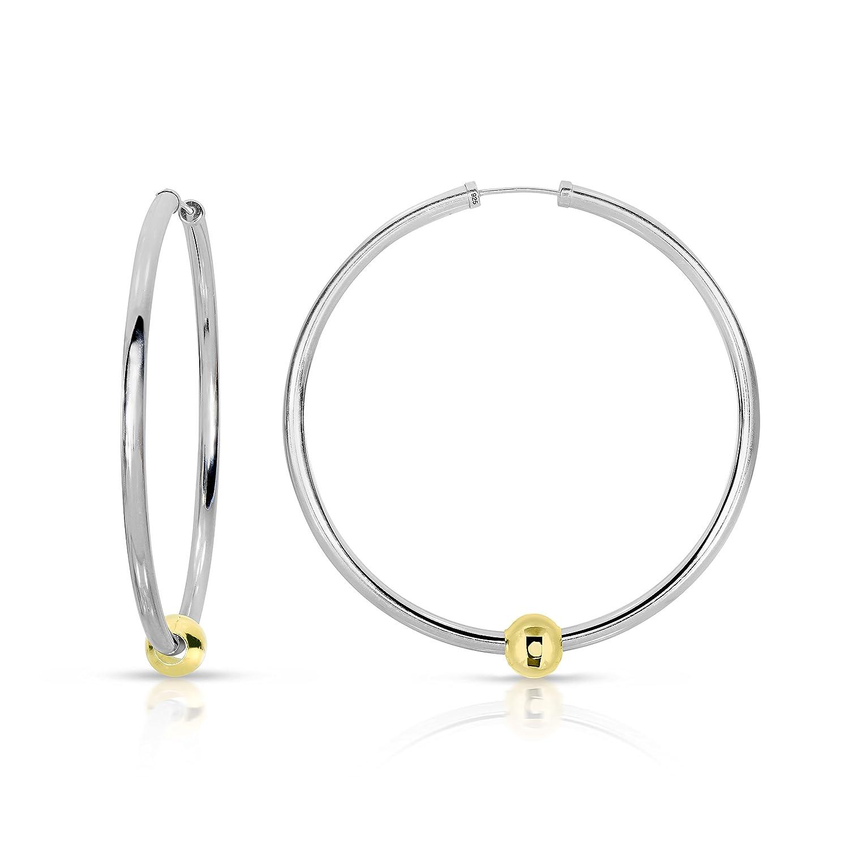 Large Ocean Side Earrings Sterling Silver with 14k solid Gold Ball Endless Hoop Earrings 52 mm