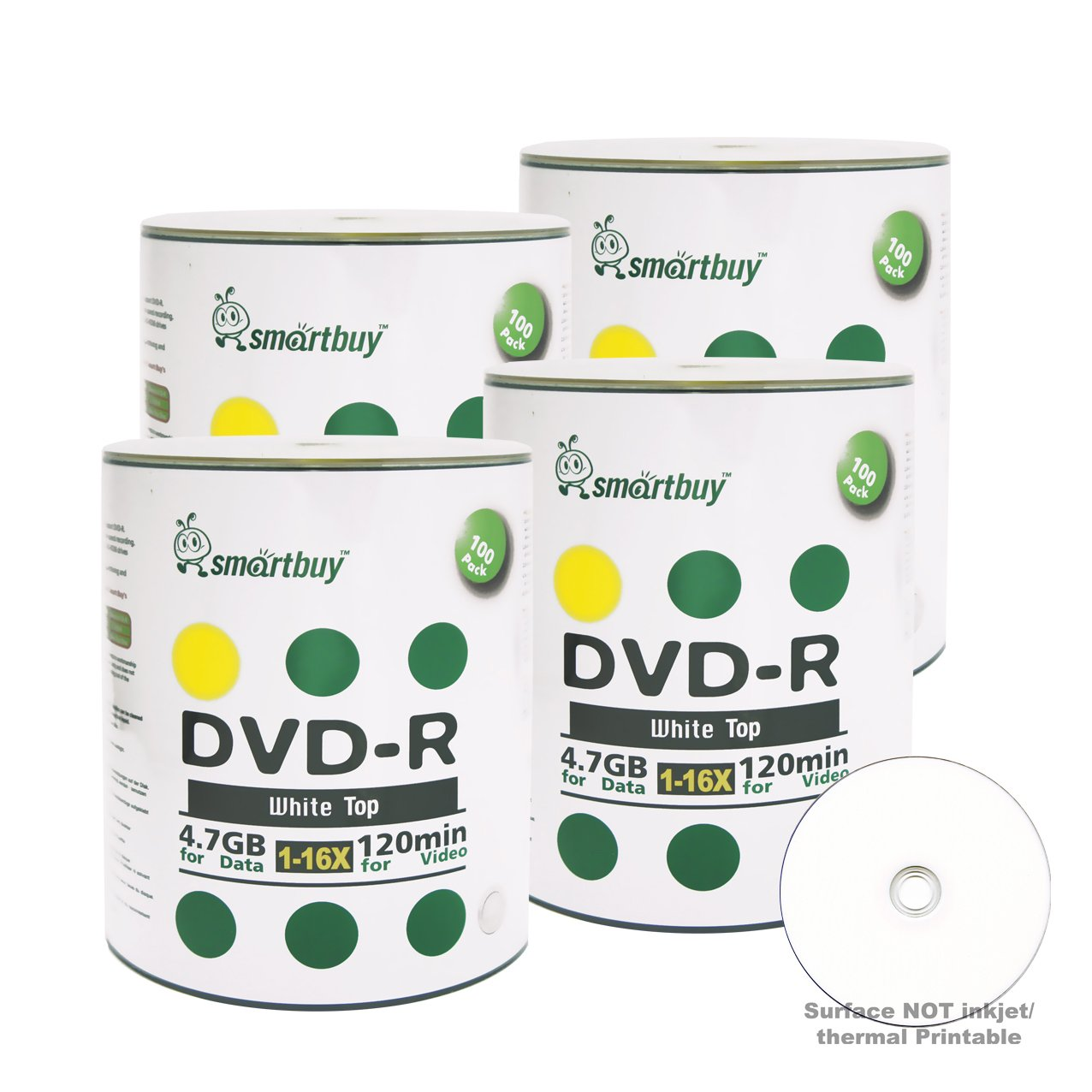 Smartbuy 4.7gb/120min 16x DVD-R White Top Blank Data Video Recordable Media Disc (400-Disc)