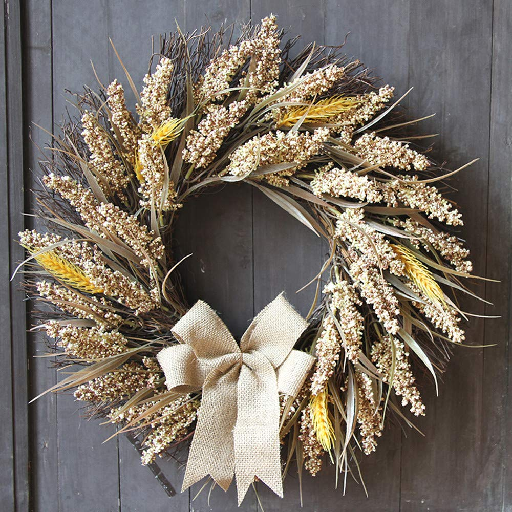 Dowager Wheat Harvest Fall Door Wreath, Christmas Door Window Wall Garland Ornament for Halloween Xmas Thanksgiving Decoration by Dowager_Home Decor