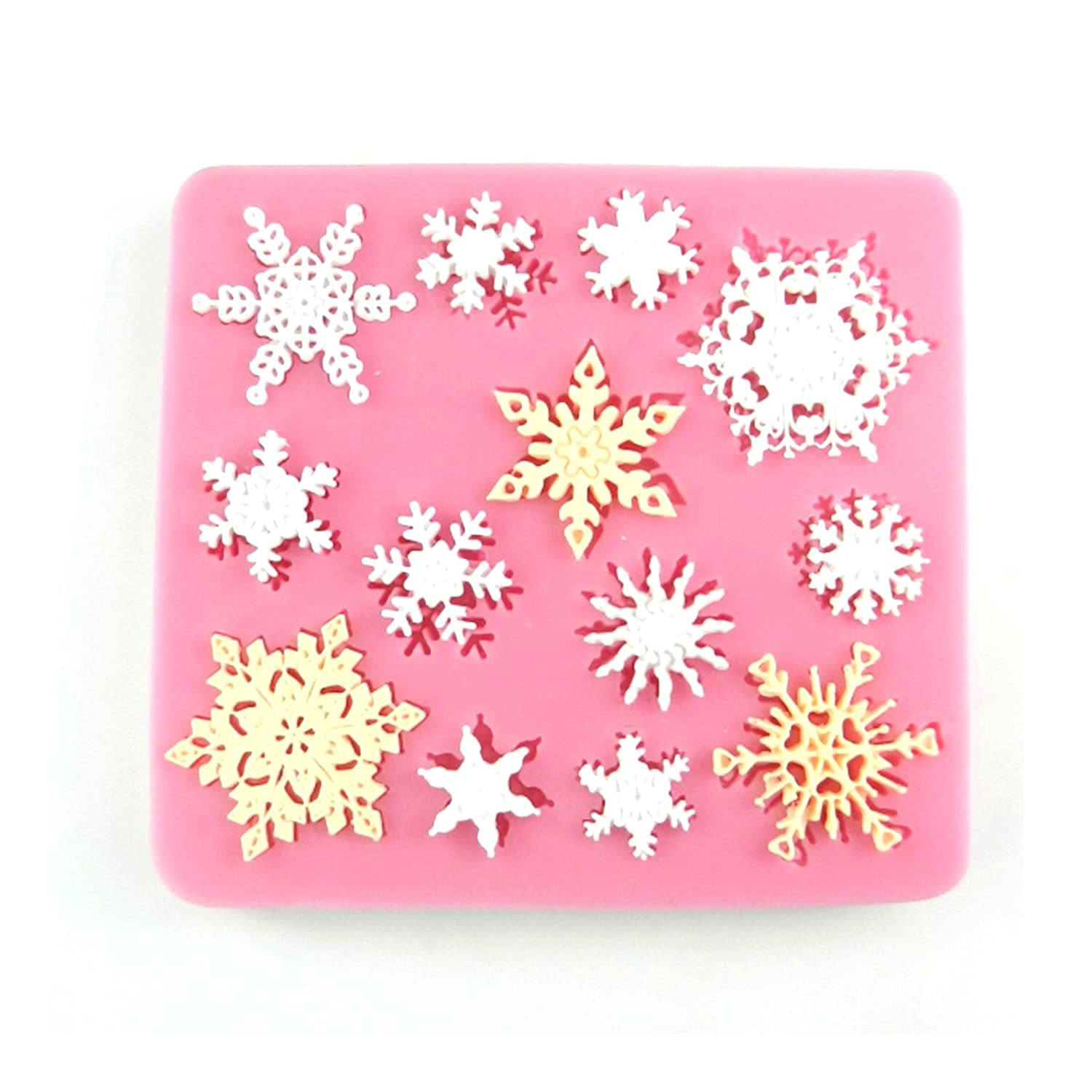 Sugarcraft Silicone Mold Fondant Clay Mould Snowflake Shape 3D Chocolate DIY Decorating Tool pqusno