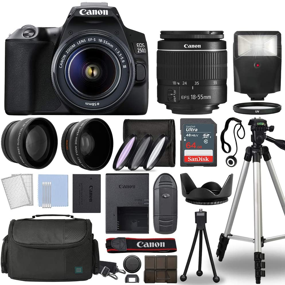 Canon EOS 250D / Rebel SL3 Digital SLR Camera Body w/Canon EF-S 18-55mm f/3.5-5.6 Lens 3 Lens DSLR Kit Bundled with Complete Accessory Bundle + 64GB + Flash + Case & More - International Model