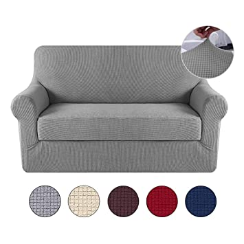 Aolvo T-Cushion Sofa Slipcover, 2 Seater Couch Cover Soft High Stretch Fabric in Polyester Spandex Sofa Furniture Protector Cover Machine Washable, ...