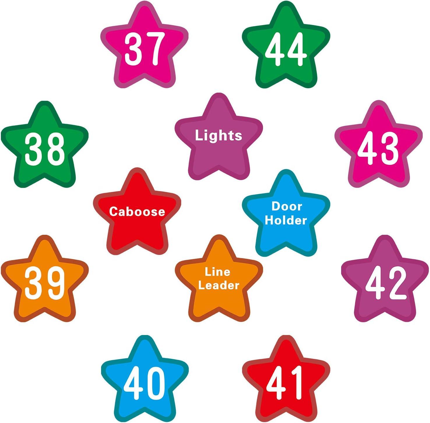 48 Pi/èces Marqueurs et /Étiquettes de Spot de Num/éro Spots de Tapis en Forme d/'/Étoile Aides de Spots dAlignement de Classes Marqueurs de Tapis Color/és avec Num/éro