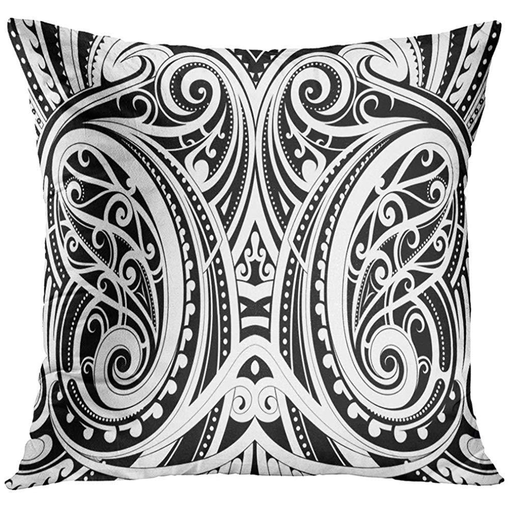 3e43f80ee8b83 Amazon.com: Throw Pillow Cover Black Tattoo Maori Style Ethnic Polynesian  Tribal Decorative Pillow Case Home Decor Square 18x18 Inches Pillowcase:  Home & ...