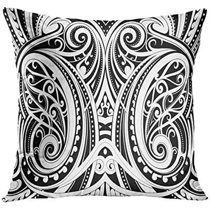 df4373d574e9a Image Unavailable. Image not available for. Color: Throw Pillow Cover Black  Tattoo Maori Style Ethnic ...