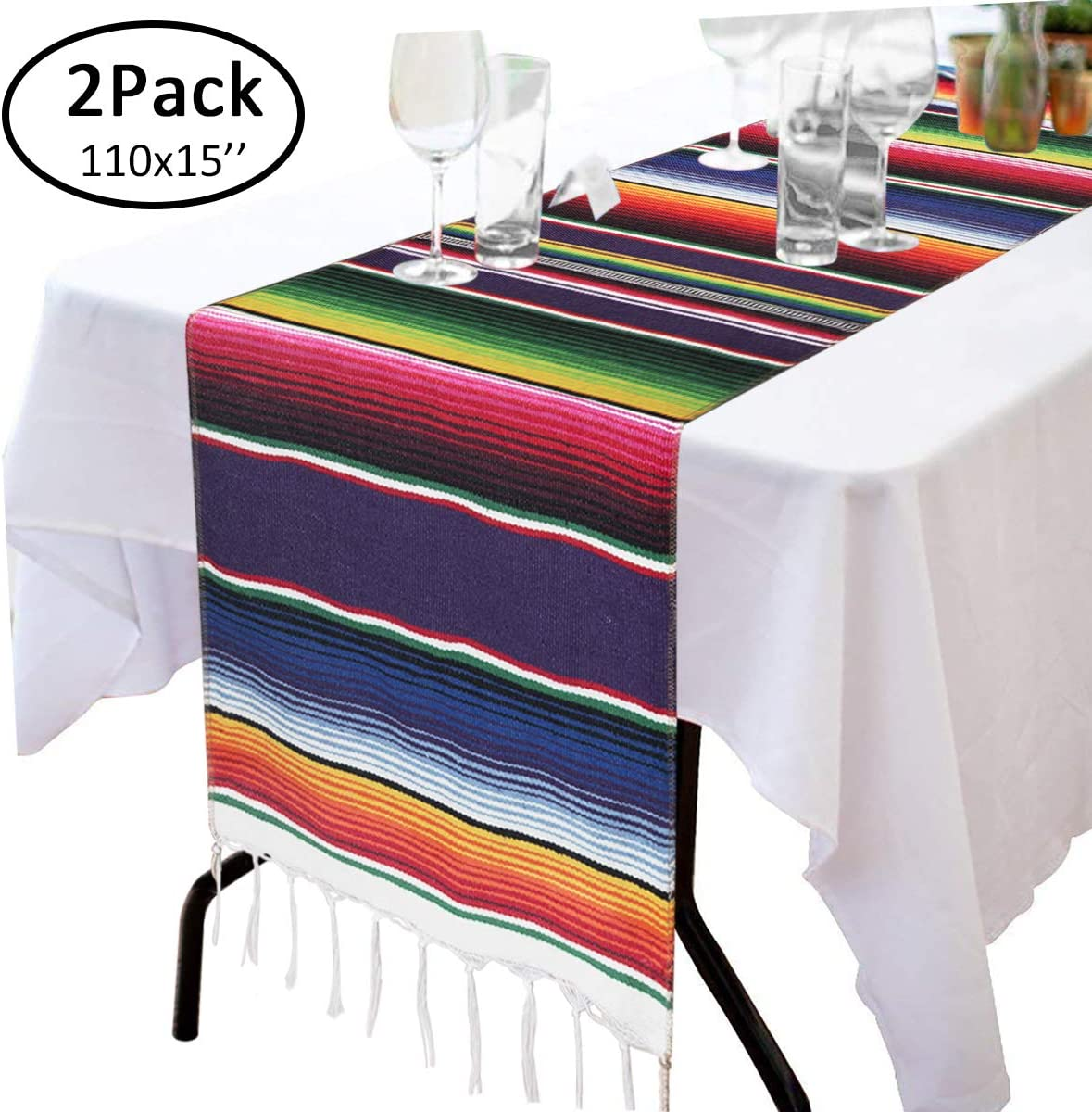 """110"""" x 15"""" Mexican Blanket Table Runner for Cinco de Mayo Decorations - Hand Woven Table Cloth Fiesta Party Supplies - Fringe Cotton Mexican Serape Table Runner for Mexican Party Wedding Decorations"""