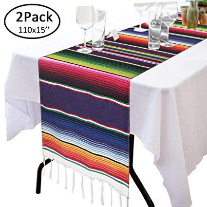 Astonishing 110 X 15 Mexican Blanket Table Runner For Cinco De Mayo Decorations Hand Woven Table Cloth Fiesta Party Supplies Fringe Cotton Mexican Serape Download Free Architecture Designs Intelgarnamadebymaigaardcom