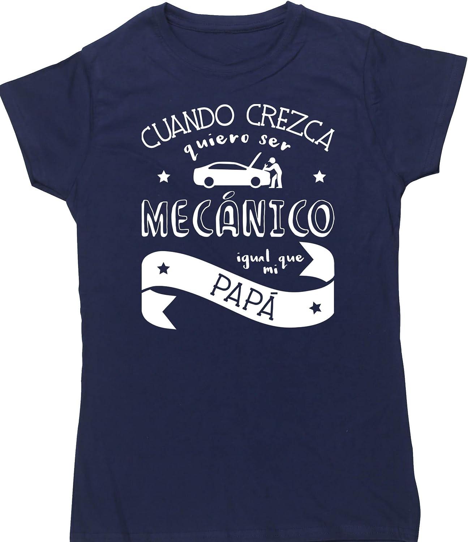 Hippowarehouse Cuando Crezca Quiero Ser Mecánico Igual Que Mi Papá Camiseta Manga Corta Ajustada para Mujer: Amazon.es: Ropa y accesorios