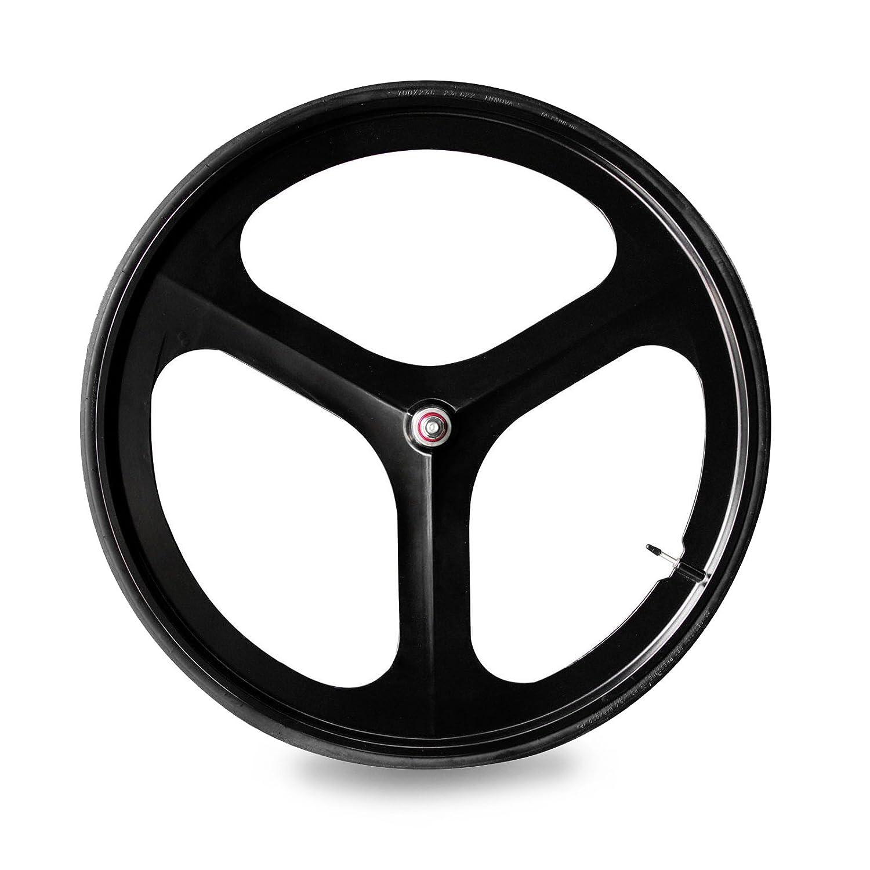 Solomone Cavalli SC固定ギア700 C triスポーク5-spokeリムフロントリアシングルスピード固定ギア自転車ホイールセット B01MUCCXE6 Front Black Wheel Front Black Wheel