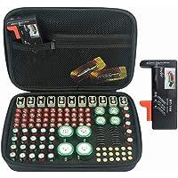 130+ Battery Organizer Case, KIXDA Batteries Carrying Case Holder Box Bag for AA AAA AAAA C D 9V 3V 1.5V Lithium CR2032 CR2016 CR1632 CR2025 Duracell (Included Battery Tester BT-168, No Batteries)