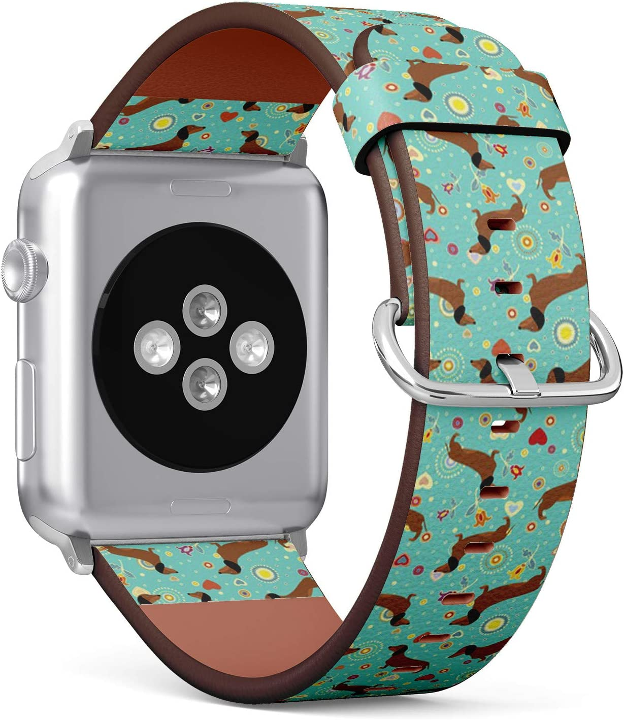 Compatible with Apple Watch (Big Version) 42 / 44mm Leather Wristband Bracelet with Stainless Steel Clasp and Adapters - Dachshunds