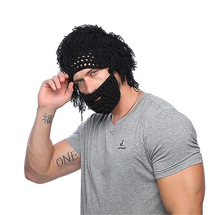 114f766127c Amazon.com  Jenny Shop Beard Wig Hats Handmade Knit Warm Winter Caps Men  Women Kid (Black