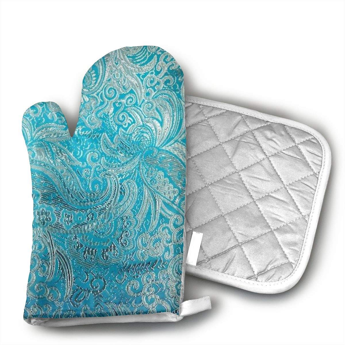 NoveltyGloves Turquoise Paisley Oven Mitts,Professional Heat Resistant Microwave BBQ Oven Insulation Thickening Cotton Gloves Baking Pot Mitts Soft Inner Lining Kitchen Cooking