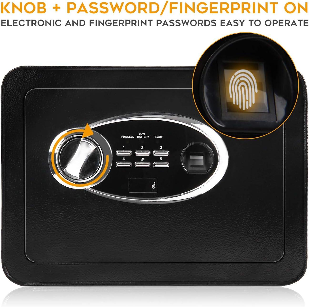 LETTON Fingerprint Safe Box Home Office Document Lock Security Box Solid Steel Hotel Business Small Money Hidden Black