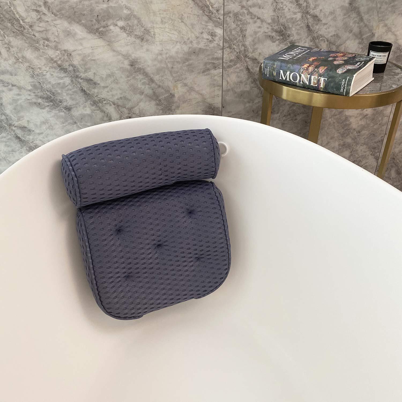 Bath Pillows for Tub 4D Mesh Spa Bathtub Pillow Cushion Rest 7 Suction Cups Head Neck Shoulder Back Support Washable Quick Dry (denim)